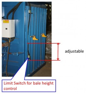 Adjust bale height by adjusting the limit switch